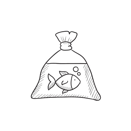 plastic bag: Fish in plastic bag vector sketch icon isolated on background. Hand drawn Fish in plastic bag icon. Fish in plastic bag sketch icon for infographic, website or app.