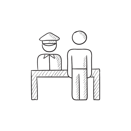 Airport security vector sketch icon isolated on background. Hand drawn Airport security icon. Airport security sketch icon for infographic, website or app.