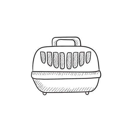 carrier: Pet carrier box vector sketch icon isolated on background. Hand drawn Pet carrier box icon. Pet carrier box sketch icon for infographic, website or app.
