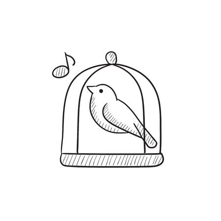 caged: Bird singing in cage vector sketch icon isolated on background. Hand drawn Bird singing in cage icon. Bird singing in cage sketch icon for infographic, website or app. Illustration