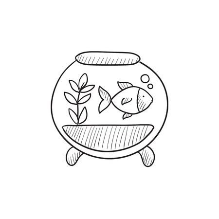 vesicle: Fish in aquarium vector sketch icon isolated on background. Hand drawn Fish in aquarium icon. Fish in aquarium sketch icon for infographic, website or app.