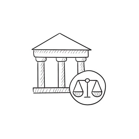 governmental: Court vector sketch icon isolated on background. Hand drawn Court icon. Court sketch icon for infographic, website or app. Illustration