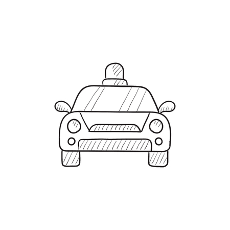 security lights: Police car vector sketch icon isolated on background. Hand drawn Police car icon. Police car sketch icon for infographic, website or app.