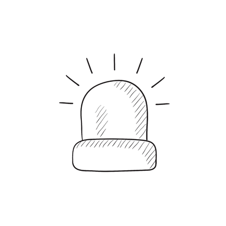 security lights: Siren light vector sketch icon isolated on background. Hand drawn Siren light icon. Siren light sketch icon for infographic, website or app.