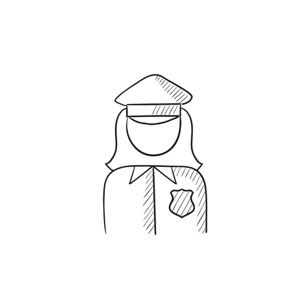 femme policier: Policewoman ic�ne vecteur d'esquisse isol� sur fond. Hand drawn Policewoman ic�ne. Policewoman ic�ne esquisse pour infographie, site Web ou application. Illustration