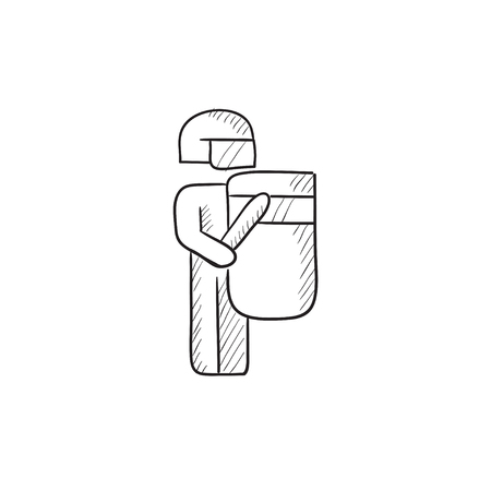 truncheon: Policeman vector sketch icon isolated on background. Hand drawn Policeman icon. Policeman sketch icon for infographic, website or app.