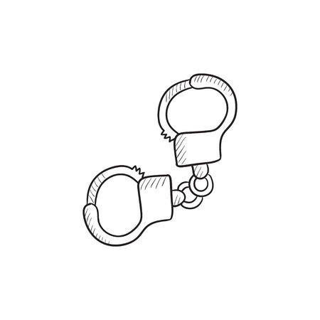 shackle: Handcuffs vector sketch icon isolated on background. Hand drawn Handcuffs icon. Handcuffs sketch icon for infographic, website or app.