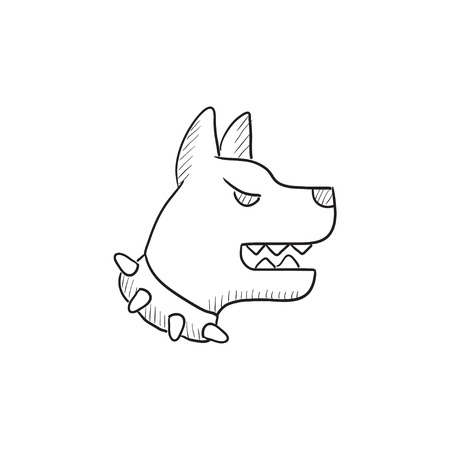 police dog: Aggressive police dog vector sketch icon isolated on background. Hand drawn Aggressive police dog icon. Aggressive police dog sketch icon for infographic, website or app. Illustration