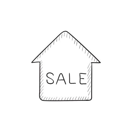 House for sale vector sketch icon isolated on background. Hand drawn House for sale icon. House for sale sketch icon for infographic, website or app.