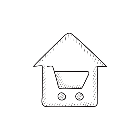 house shopping: House shopping vector sketch icon isolated on background. Hand drawn House shopping icon. House shopping sketch icon for infographic, website or app. Illustration