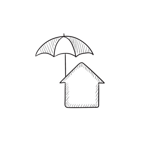 House under umbrella vector sketch icon isolated on background. Hand drawn House under umbrella icon. House under umbrella sketch icon for infographic, website or app. 向量圖像
