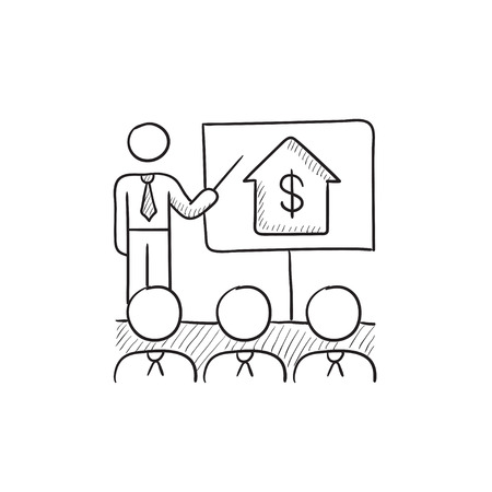 valuation: Real estate training vector sketch icon isolated on background. Hand drawn Real estate training icon. Real estate training sketch icon for infographic, website or app. Illustration