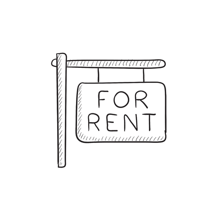 outdoor advertising construction: For rent placard vector sketch icon isolated on background. Hand drawn For rent placard icon. For rent placard sketch icon for infographic, website or app. Illustration