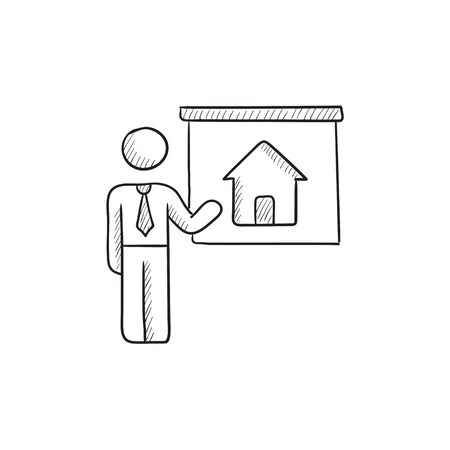 demonstrate: Real estate agent showing house vector sketch icon isolated on background. Hand drawn Real estate agent showing house icon. Real estate agent showing house sketch icon for infographic, website or app.