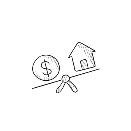 weigher: House and dollar symbol on scales vector sketch icon isolated on background. Hand drawn House and dollar symbol on scales icon. House and dollar on scales sketch icon for infographic, website or app.
