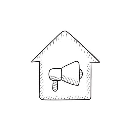 house fire: House fire alarm vector sketch icon isolated on background. Hand drawn House fire alarm icon. House fire alarm sketch icon for infographic, website or app.
