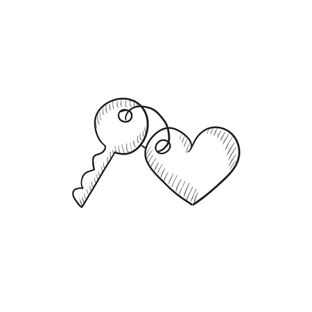 trinket: Trinket for keys as heart vector sketch icon isolated on background. Hand drawn Trinket for keys as heart icon. Trinket for keys as heart sketch icon for infographic, website or app.