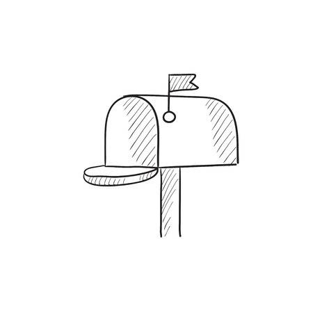 mail icon: Mail box vector sketch icon isolated on background. Hand drawn Mail box icon. Mail box sketch icon for infographic, website or app. Illustration