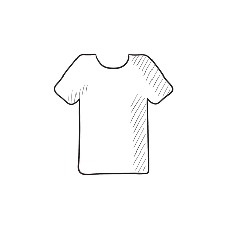 formalwear: T-shirt vector sketch icon isolated on background. Hand drawn T-shirt icon. T-shirt sketch icon for infographic, website or app.