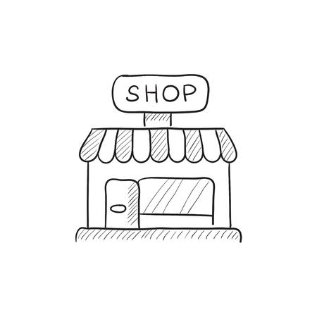 Shop-Vektor Skizze Symbol auf Hintergrund isoliert. Hand Shop-Symbol gezogen. Kaufen Skizze Symbol für Infografik, die Website oder App.