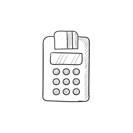 Cash register vector sketch icon isolated on background. Hand drawn Cash register icon. Cash register sketch icon for infographic, website or app. Ilustracja