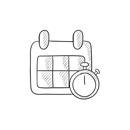 calendar page: Calendar and stopwatch vector sketch icon isolated on background. Hand drawn Calendar and stopwatch icon. Calendar and stopwatch sketch icon for infographic, website or app. Illustration