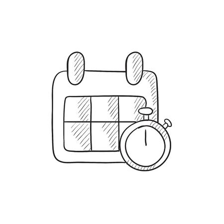 Kalender und Stoppuhr Vektor Skizze Symbol isoliert auf den Hintergrund. Hand gezeichnet Kalender und Stoppuhr-Symbol. Kalender und Stoppuhr Skizze Symbol für Infografik, die Website oder App.