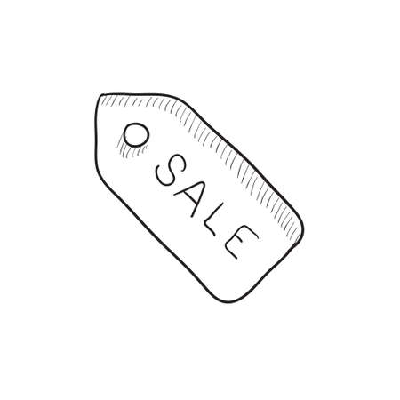 selloff: Sale tag vector sketch icon isolated on background. Hand drawn Sale tag icon. Sale tag sketch icon for infographic, website or app.