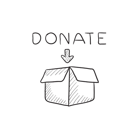 donating: Donation box vector sketch icon isolated on background. Hand drawn Donation box icon. Donation box sketch icon for infographic, website or app.