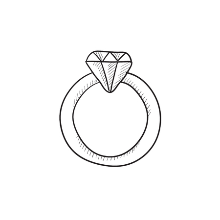 Diamond ring vector sketch icon isolated on background. Hand drawn Diamond ring icon. Diamond ring sketch icon for infographic, website or app. Reklamní fotografie - 57814745