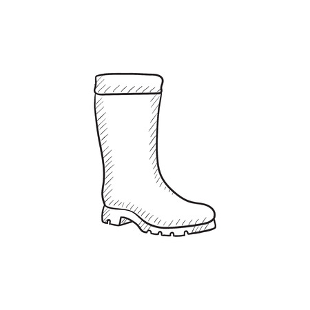 High boot vector sketch icon isolated on background. Hand drawn High boot icon. High boot sketch icon for infographic, website or app. Illustration