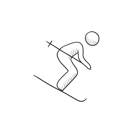 Downhill skiing vector sketch icon isolated on background. Hand drawn Downhill skiing icon. Downhill skiing sketch icon for infographic, website or app. Stock fotó - 57727132