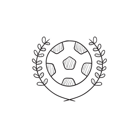Soccer badge vector sketch icon isolated on background. Hand drawn Soccer badge icon. Soccer badge sketch icon for infographic, website or app.