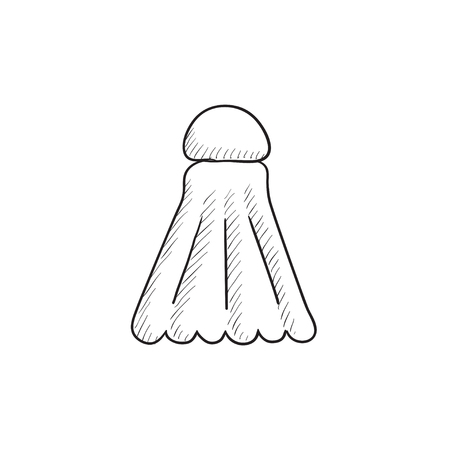 battledore: Shuttlecock vector sketch icon isolated on background. Hand drawn Shuttlecock icon. Shuttlecock sketch icon for infographic, website or app.