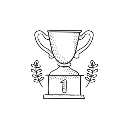 Trophy vector sketch icon isolated on background. Hand drawn Trophy icon. Trophy sketch icon for infographic, website or app. Ilustrace