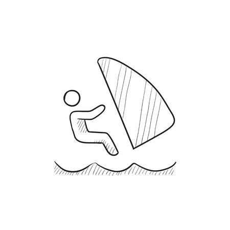 wind surfing: Wind surfing vector sketch icon isolated on background. Hand drawn Wind surfing icon. Wind surfing sketch icon for infographic, website or app. Illustration