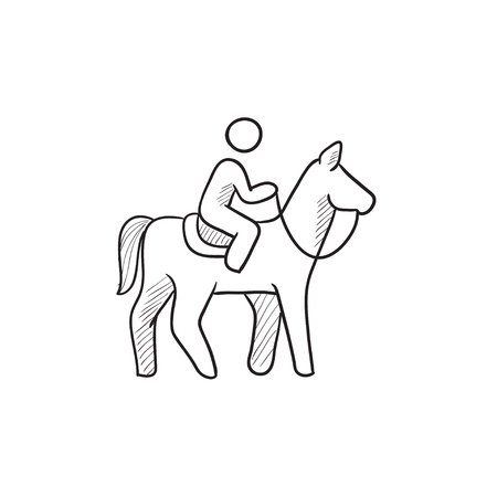 stirrup: Horse riding vector sketch icon isolated on background. Hand drawn Horse riding icon. Horse riding sketch icon for infographic, website or app.