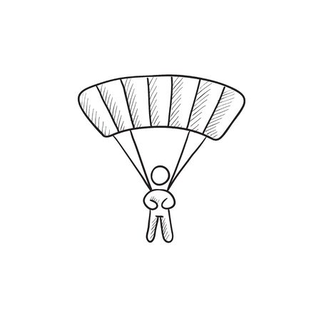 skydiving: Skydiving vector sketch icon isolated on background. Hand drawn Skydiving icon. Skydiving sketch icon for infographic, website or app. Illustration