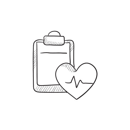 estimation: Heartbeat record vector sketch icon isolated on background. Hand drawn Heartbeat record icon. Heartbeat record sketch icon for infographic, website or app.