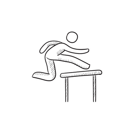 barrier: Man running over barrier vector sketch icon isolated on background. Hand drawn Man running over barrier icon. Man running over barrier sketch icon for infographic, website or app.
