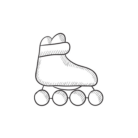 roller skate: Roller skate vector sketch icon isolated on background. Hand drawn Roller skate icon. Roller skate sketch icon for infographic, website or app.