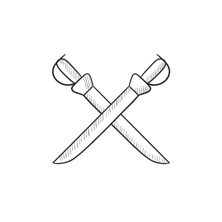 saber: Crossed saber vector sketch icon isolated on background. Hand drawn Crossed saber icon. Crossed saber sketch icon for infographic, website or app.