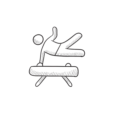 Gymnast exercising on pommel horse vector sketch icon isolated on background. Hand drawn Gymnast exercising on pommel horse icon. Gymnast on pommel horse sketch icon for infographic, website or app.  イラスト・ベクター素材
