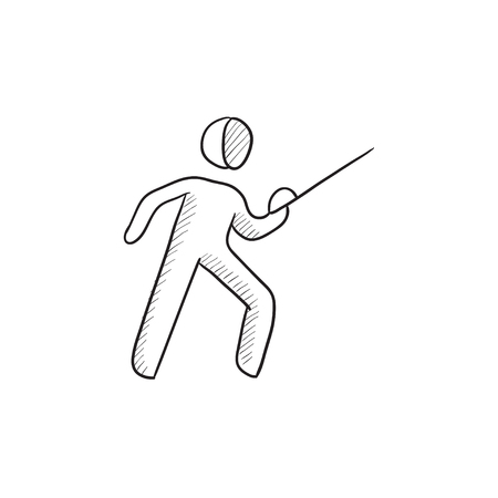 sward: Fencing vector sketch icon isolated on background. Hand drawn Fencing icon. Fencing sketch icon for infographic, website or app.