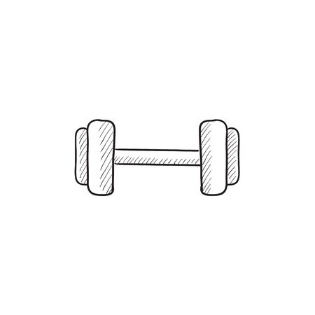 hand with dumbbell: Dumbbell vector sketch icon isolated on background. Hand drawn Dumbbell icon. Dumbbell sketch icon for infographic, website or app.