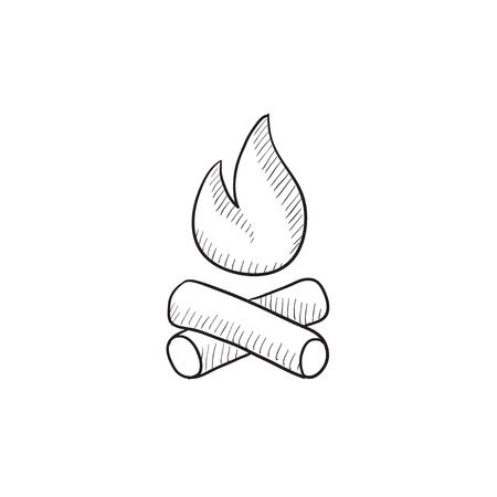 coals: Campfire vector sketch icon isolated on background. Hand drawn Campfire icon. Campfire sketch icon for infographic, website or app.
