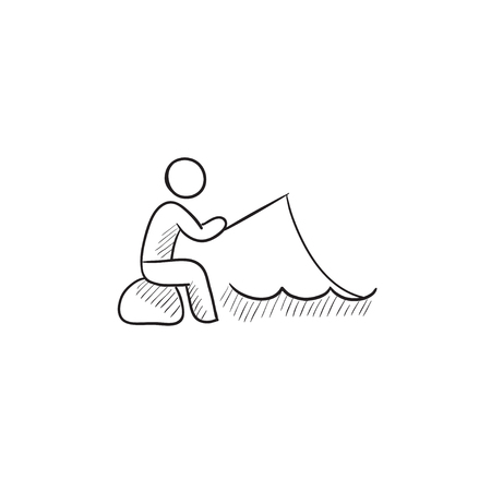 fisheries: Fisherman sitting with rod vector sketch icon isolated on background. Hand drawn Fisherman sitting with rod icon. Fisherman sitting with rod sketch icon for infographic, website or app. Illustration