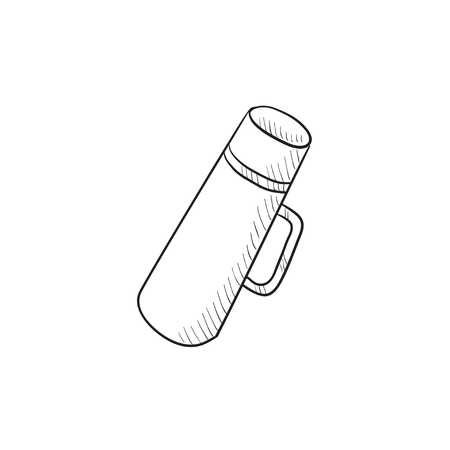 thermos: Thermos vector sketch icon isolated on background. Hand drawn Thermos icon. Thermos sketch icon for infographic, website or app.