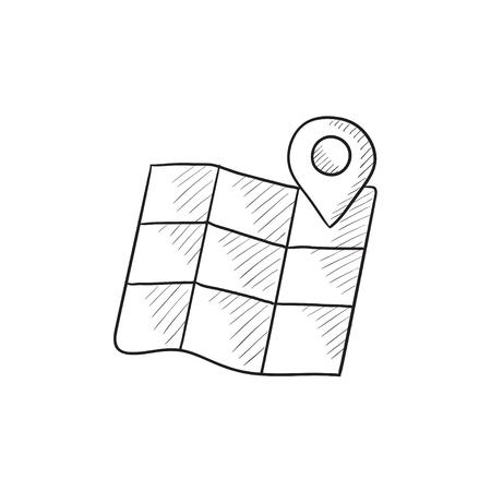 Kaart met aanwijzer vector schets pictogram geïsoleerd op de achtergrond. Hand getrokken kaart met muisaanwijzer. Kaart met aanwijzer schets pictogram voor infographic, website of app.