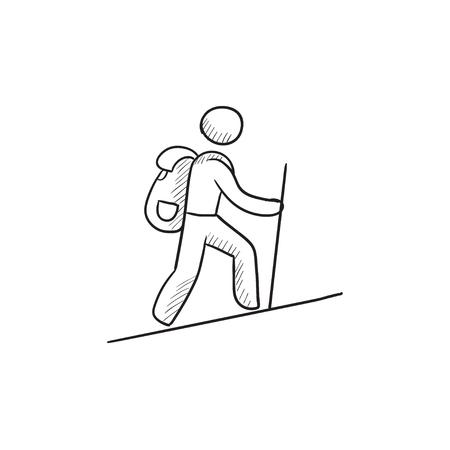 backpacker touristique vecteur croquis icône isolé sur fond. Hand drawn touristique backpacker icône. Tourist backpacker icône esquisse pour infographie, site Web ou application. Vecteurs